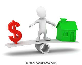 3d Little man balances the cost of a house - 3d render of a...