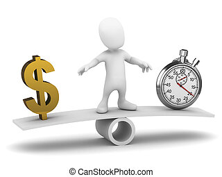 3d Little man balances time and money - 3d render of a ...