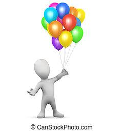 3d Little man balloons