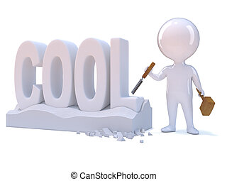 3d Little man carves the word Cool