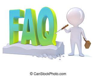 3d Little man carves the word FAQ