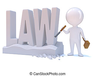 3d Little man carves the word Law