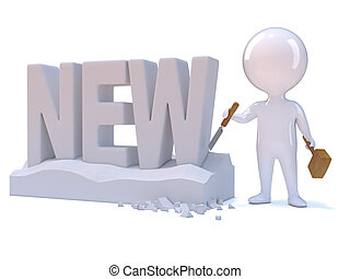 3d Little man carves the word New