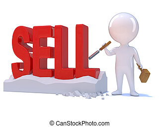 3d Little man carves the word Sell