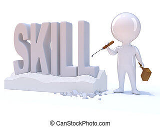 3d Little man carves the word Skill