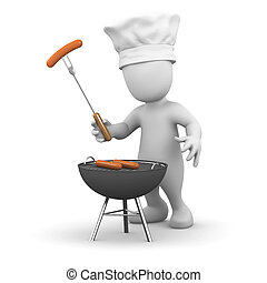 3d Little man cooking a barbeque