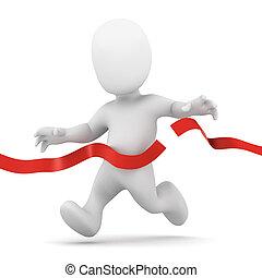 3d Little man crosses the finish line - 3d render of a...