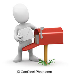3d Little man gets mail - 3d render of a little person ...
