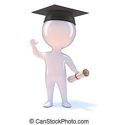 3d Little man graduates
