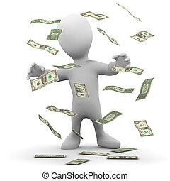 3d Little man has a cash jackpot - 3d render of a little...