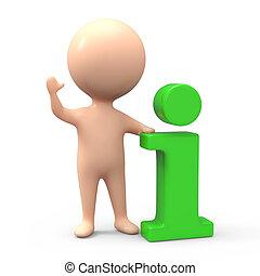 3d Little man has green info