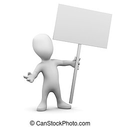 3d Little man holding a placard - 3d render of a little...