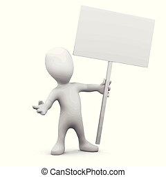 3d Little man holding a placard