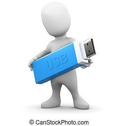 3d Little man holds a USB stick - 3d render of a little...