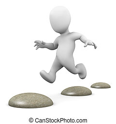 3d Little man hopping over stepping stones - 3d render of a...