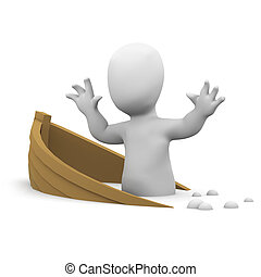 3d Little man is sinking with his ship - 3d render of a ...