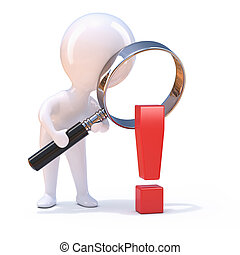 3d Little man looks at an exclamation mark through magnifier