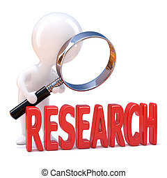 """3d render of a little person looking through a magnifying glass at the word """"Research"""""""