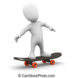 3d Little man on a skateboard