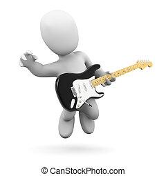 3d Little man plays electric guitar