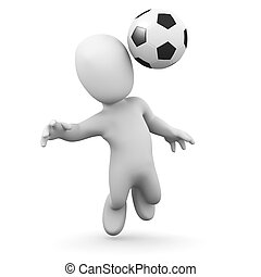 3d Little man plays football