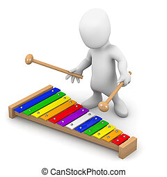 3d Little man plays the xylophone