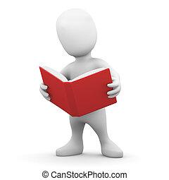 3d Little man reads a book