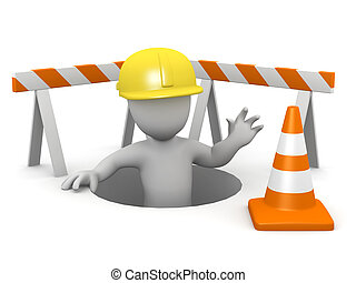 3d Little man repairs the hole in the ground - 3d render of...