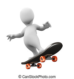3d Little man riding a skateboard