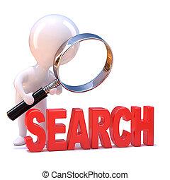 3d Little man searches