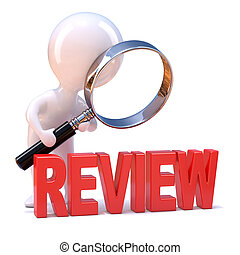 3d render of a little person looking at the review