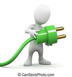 3d Little man uses green power