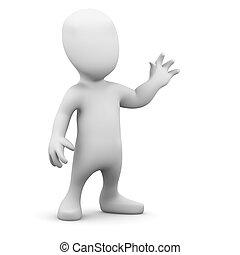3d Little man waves hello - 3d render of a little person ...