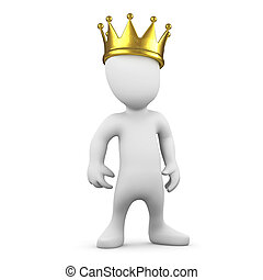 3d Little man wearing a gold crown