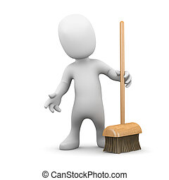 3d Little man with a broom