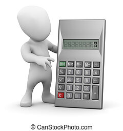 3d Little man with a calculator