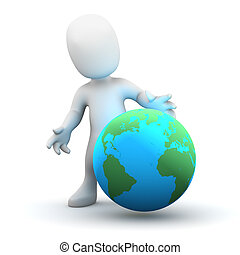 3d Little man with a globe
