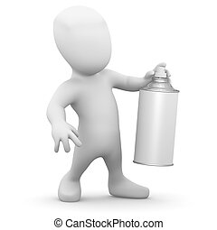 3d Little man with a spraycan of paint - 3d render of a...