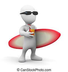 3d Little man with a surfboard