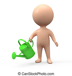 3d Little man with a watering can