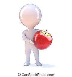 3d Little man with an apple