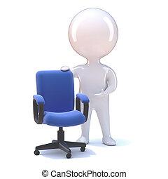 3d Little man with an empty office chair