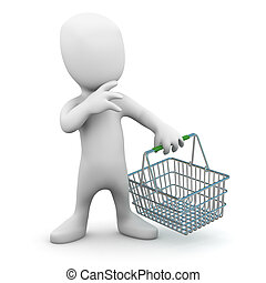 3d Little man with an empty shopping basket
