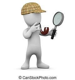 3d Little man with deerstalker hat and pipe - 3d render of a...