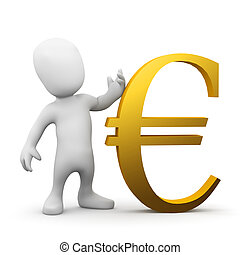 3d Little man with gold Euro currency symbol