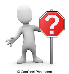 3d Little man with question mark road sign