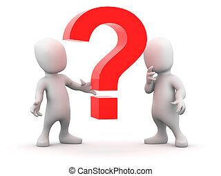 3d Little men have a question - 3d render of two little...