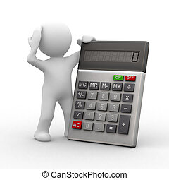3d little people in front of a calculator