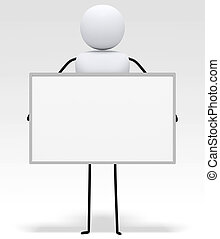 [3D little people series] Holding white board