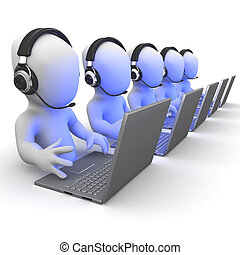 3d render of a group of little people working on laptops wearing headsets